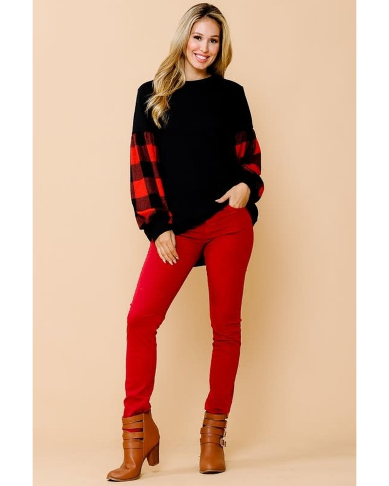 Magic Fit Solid Tunic Top with Plaid Puffy Sleeves