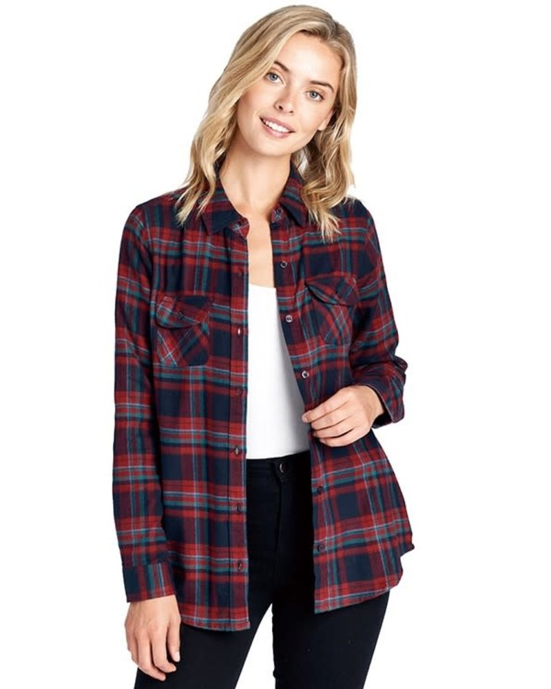 Blue Age Plaid Button Down Long Sleeve Flannel Top