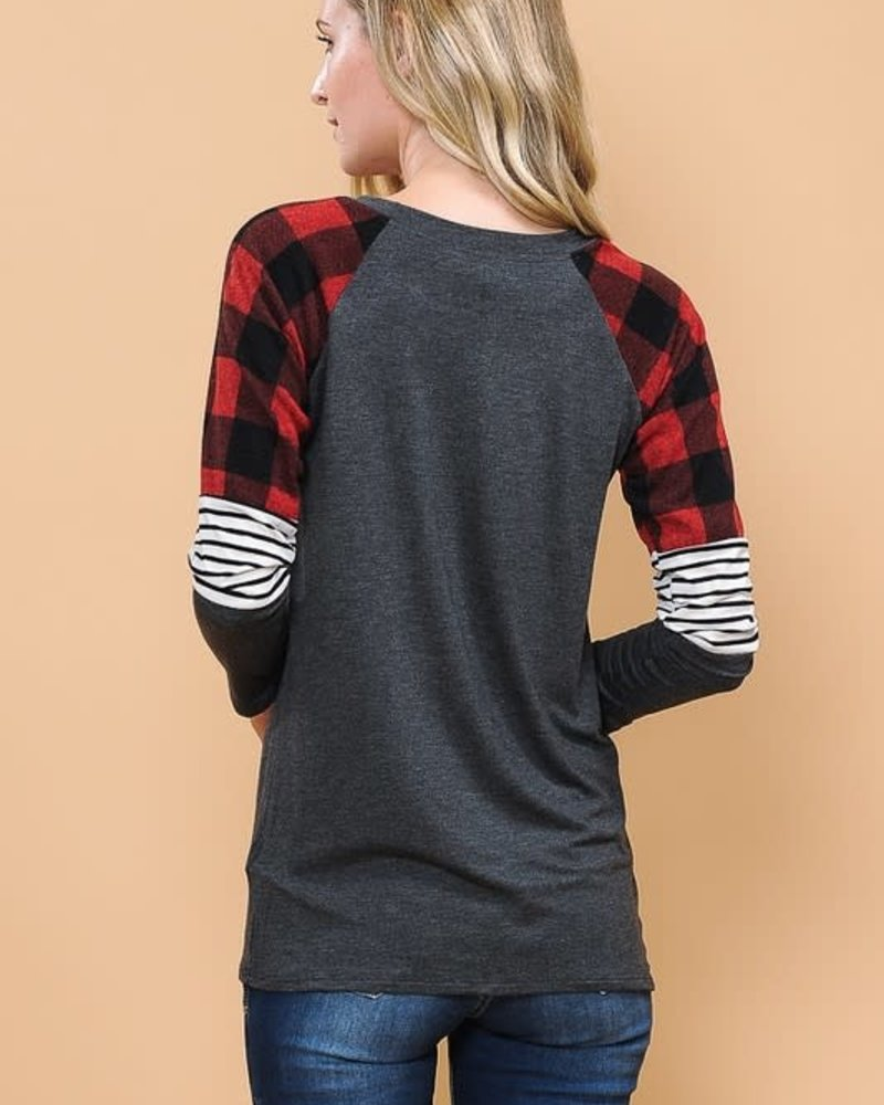 Magic Fit Solid Color Top with Plaid and Striped Sleeves
