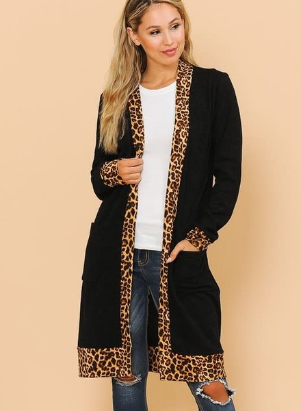 Magic Fit Midi Cardigan with Leopard Detail
