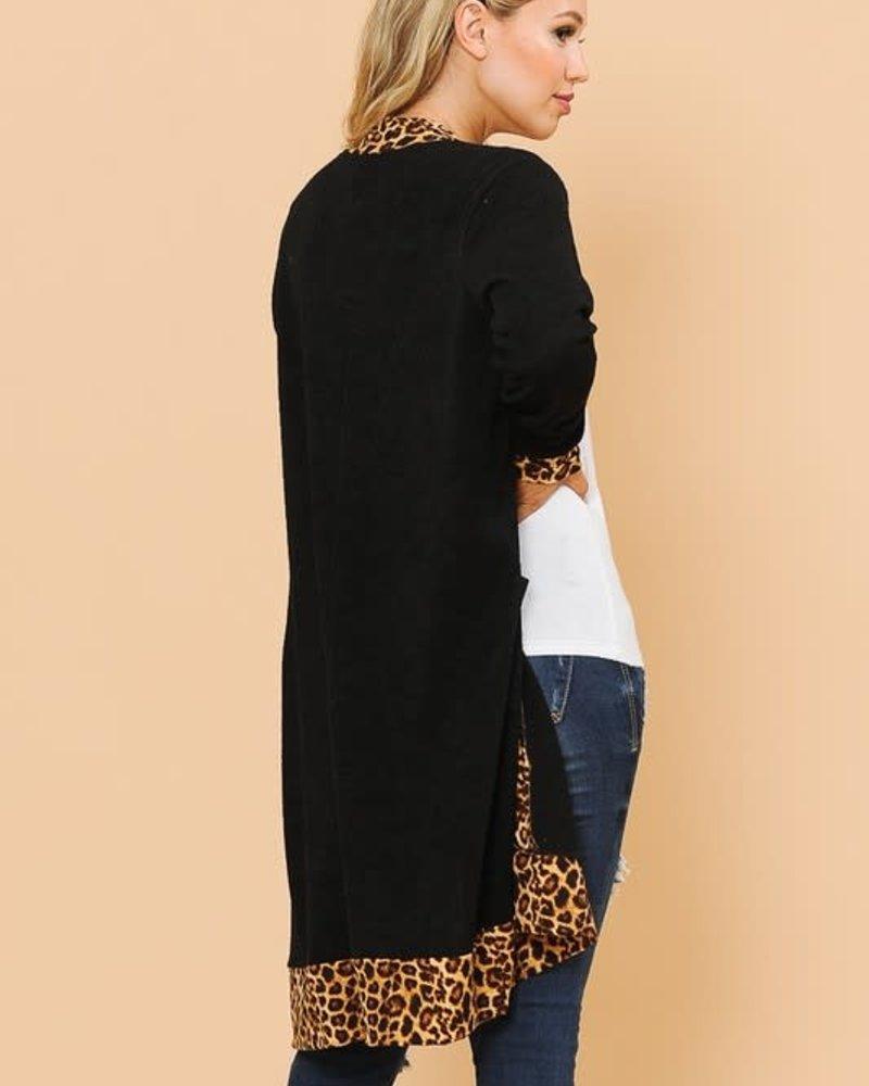 Magic Fit Midi Cardigan with Leopard Detail