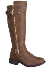 Top Moda Knee High Riding Boot with Quilted Back and Buckle Detail