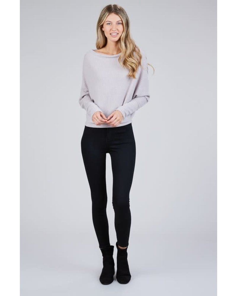Miss Love Wide Neck Waffle Long Sleeve Sweater