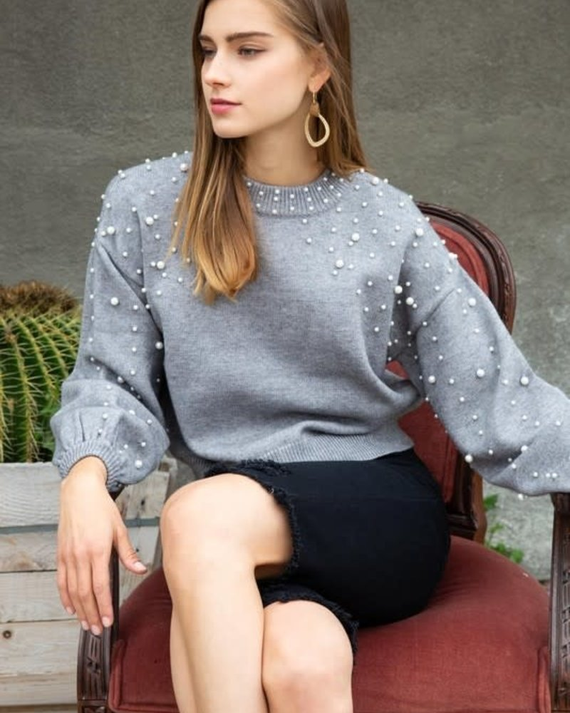 Statement Sweater with Pearl Detailed Neckline