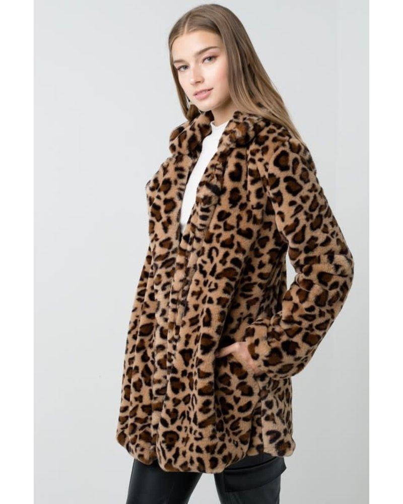 Love Tree Notch Collar Faux Fur Coat