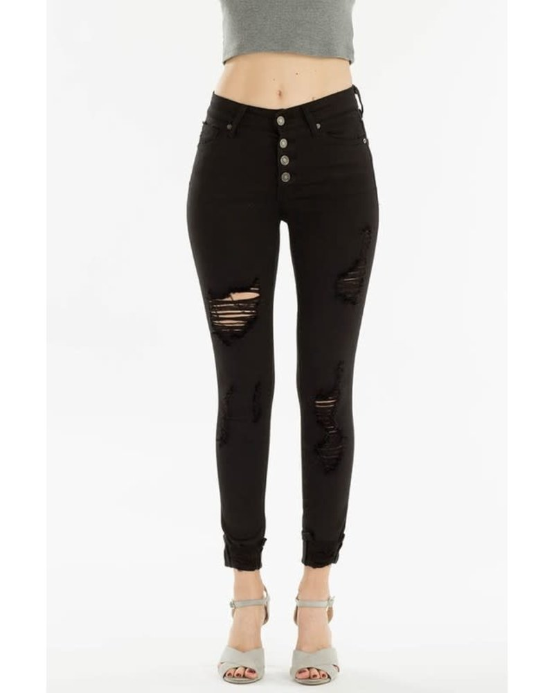 KanCan Gemma High Rise Distressed Ankle Skinny w/button fly