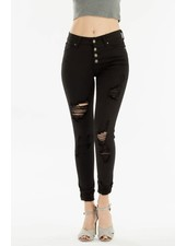 KanCan Gemma High Rise Distressed Ankle Skinny with button fly