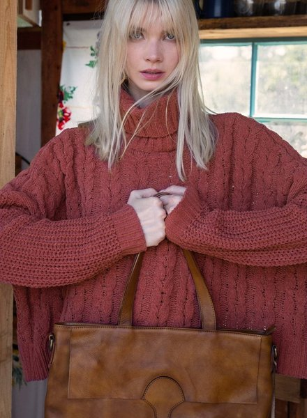 High-Low Turtle Neck Sweater with Cable Knit