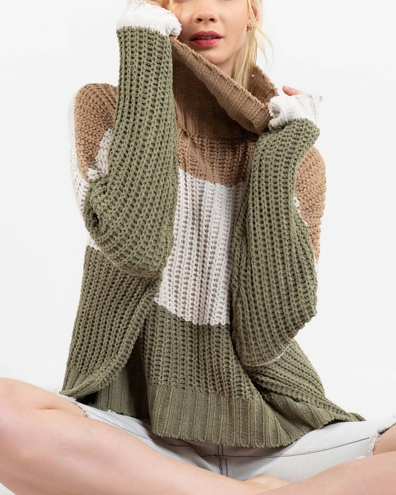 Color Block Ribbed Texture Turtle Neck Sweater