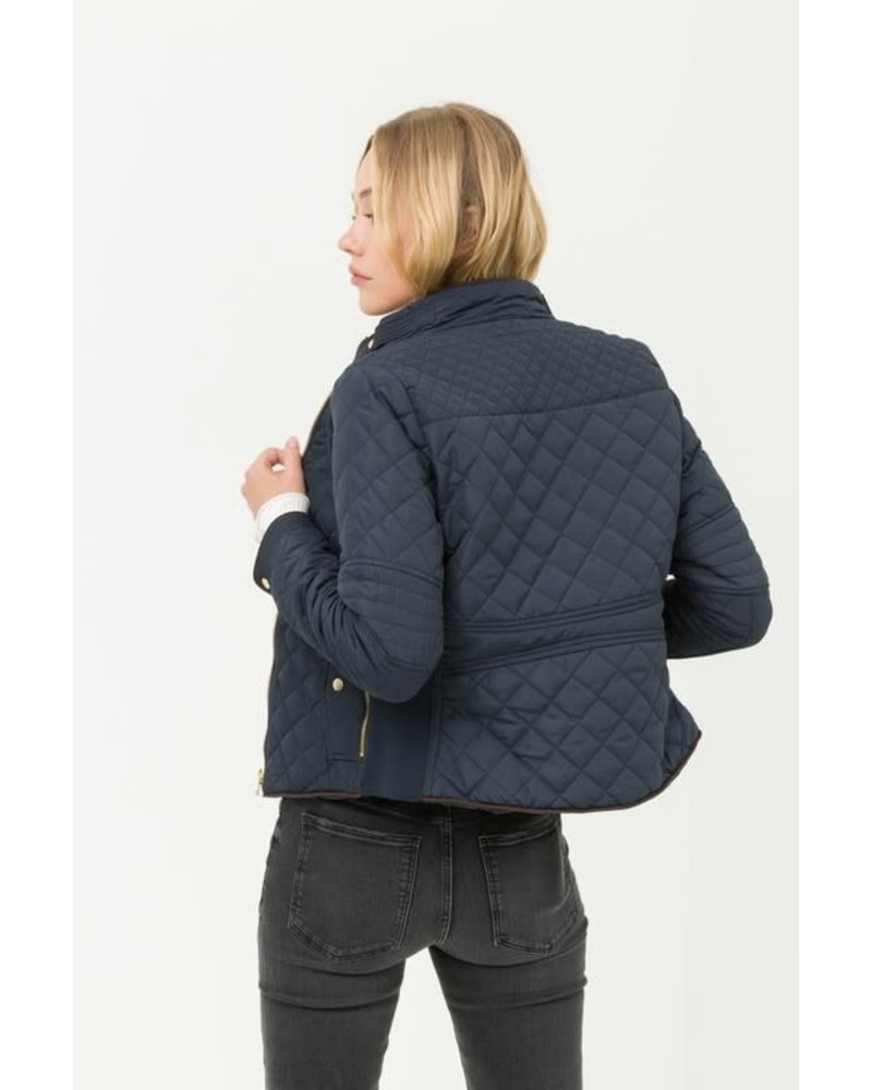 Love Tree Quilted Pattern Zip Up Jacket with Pockets