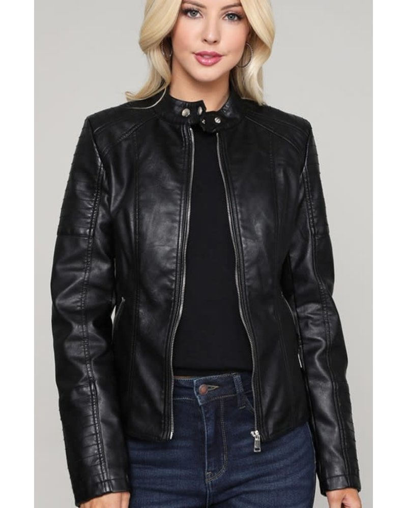 C+D+M Leather Bomber Jacket with Front Pockets