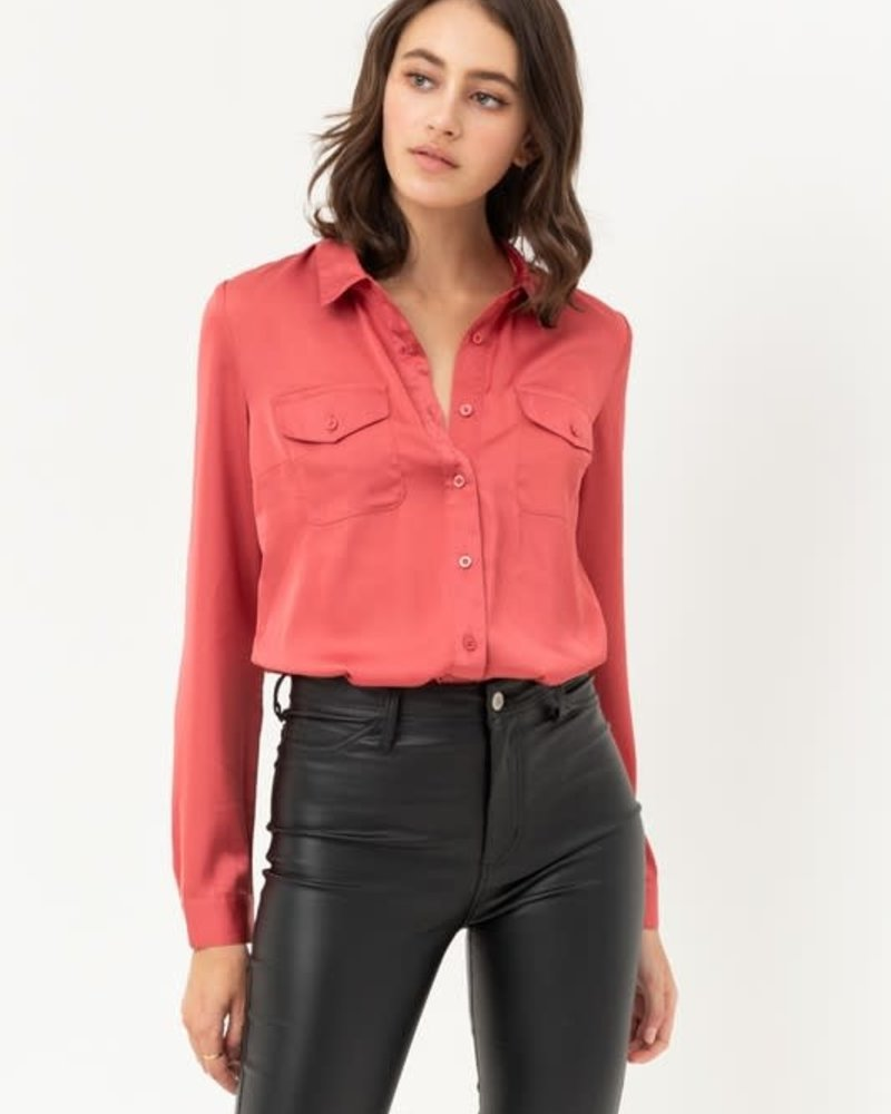 Love Tree Silky Button Down Top with Chest Flap Pockets