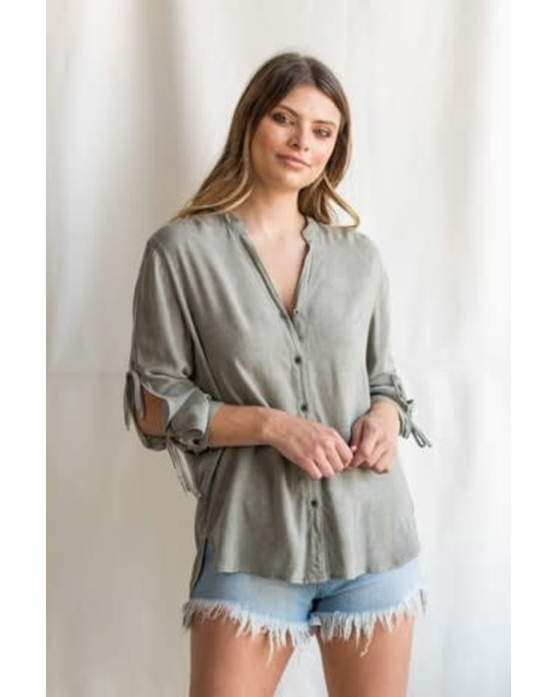 Sneak Peek Button Down Split Sleeve with High Low Hem Top
