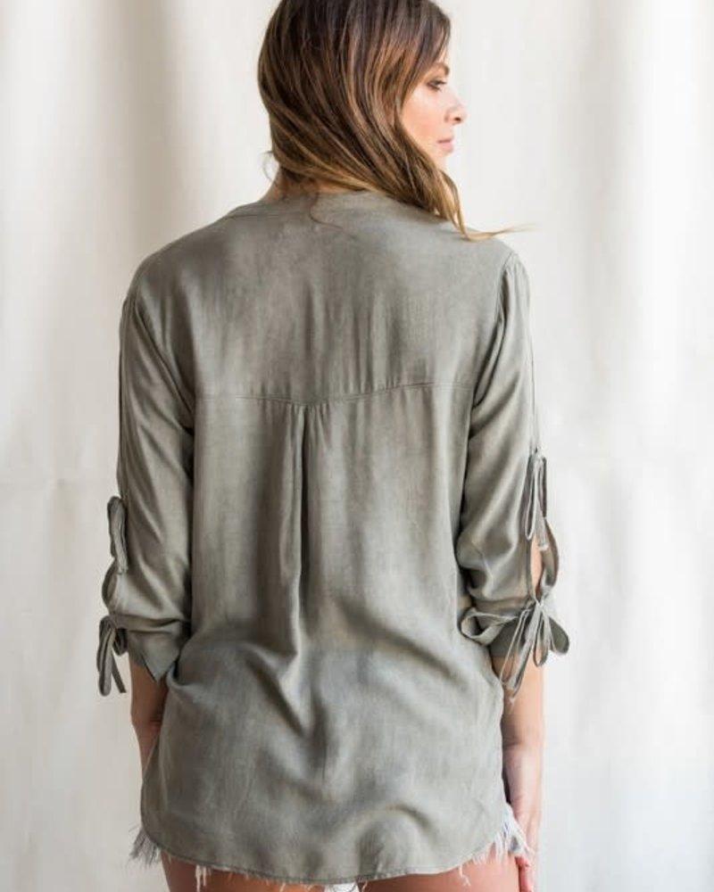 Sneak Peek Button Down Split Sleeve with High Low Hem Top