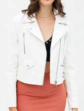 Love Tree Cropped Faux Leather Bomber Jacket