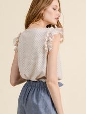 Les Amis Polka Dot W/ Ruffle Sleeve Top