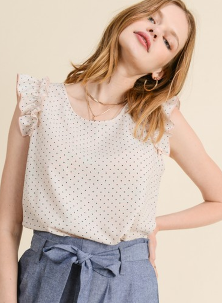 Les Amis Polka Dot W/ Ruffle Sleeve Top
