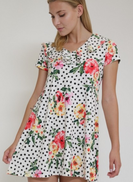 1 Funky Polka Dot Floral Dress