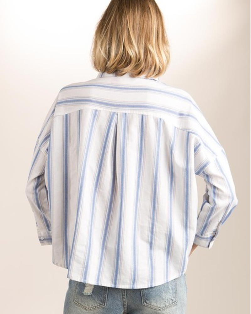 Striped Plaid Top w/ Front Pockets