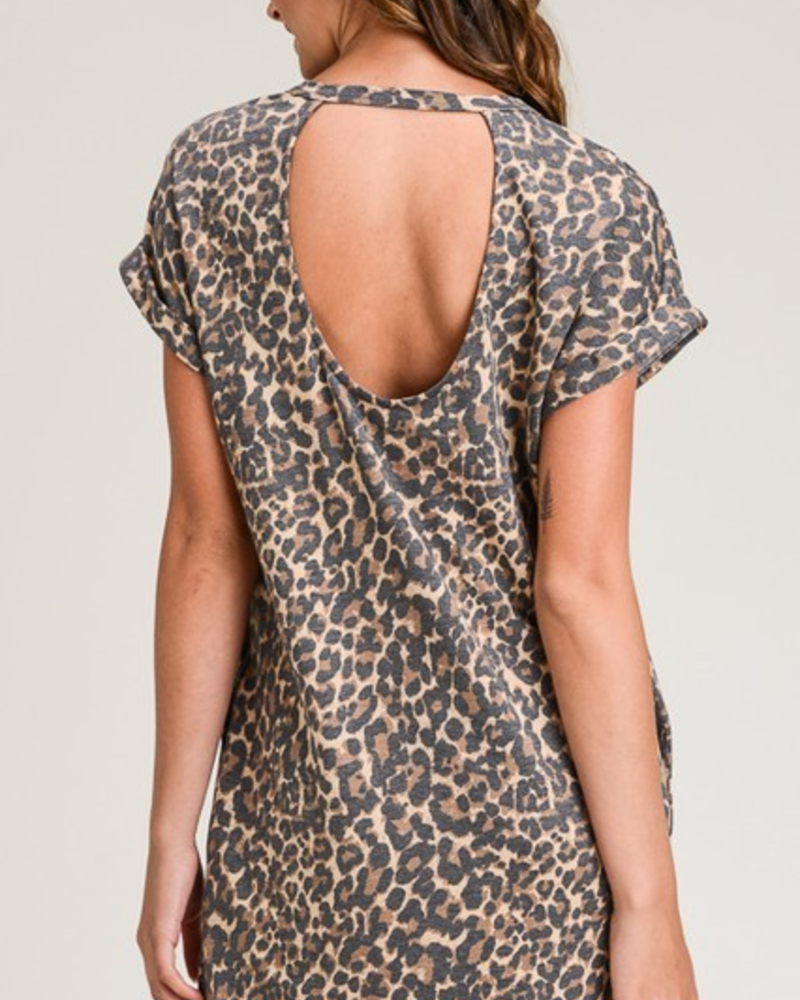 First Love Leopard T-Shirt Dress w/Back Cutout