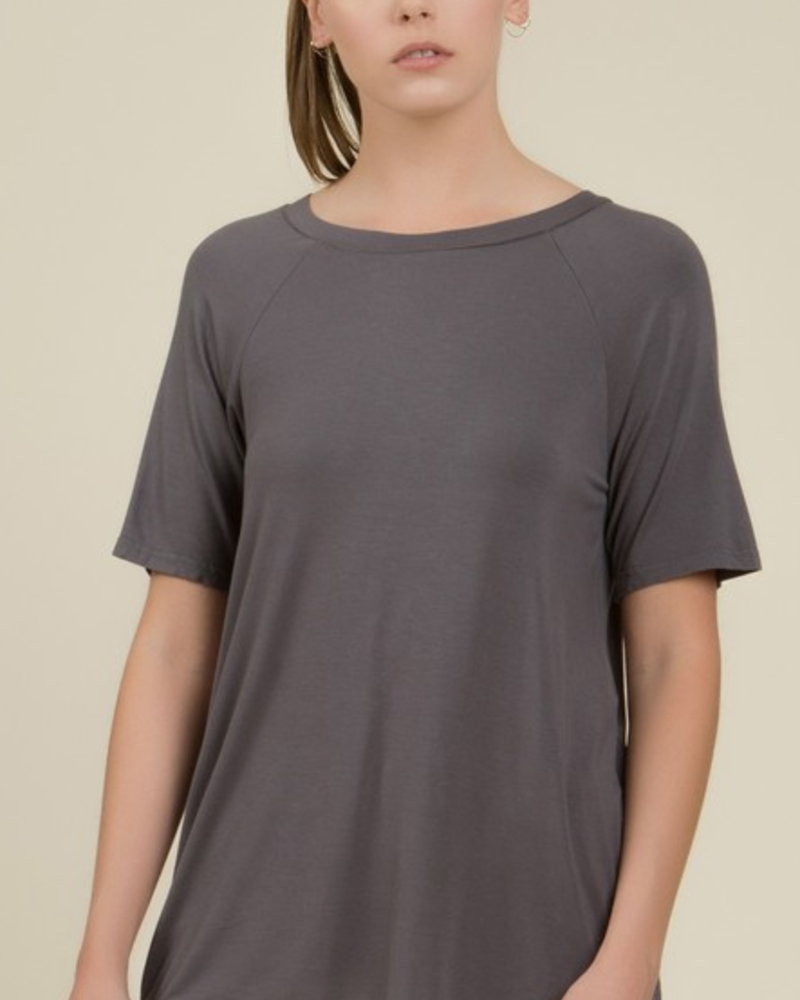Round Neck Tee w/Lace Up Back