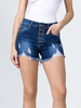 American Bazi High Waisted Button Up Distressed Shorts