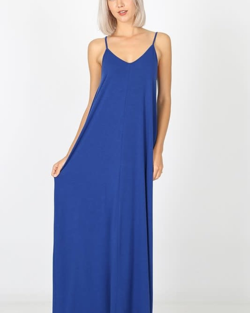 Zenana Premier V- Neck Cami Dress w/Pockets