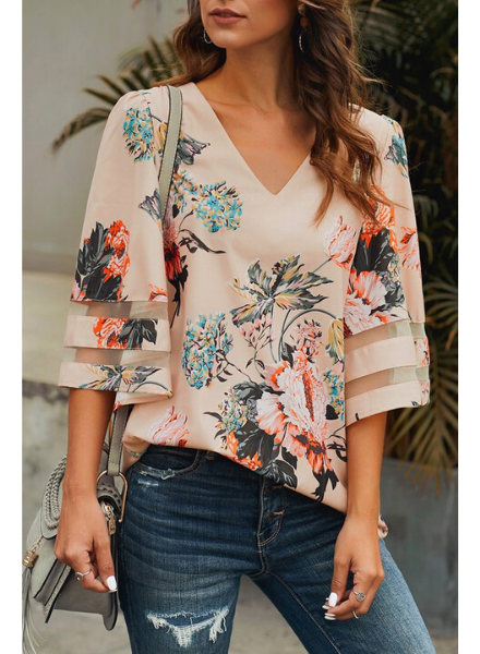 Lily Clothing Floral Print V Neck Chiffon Top