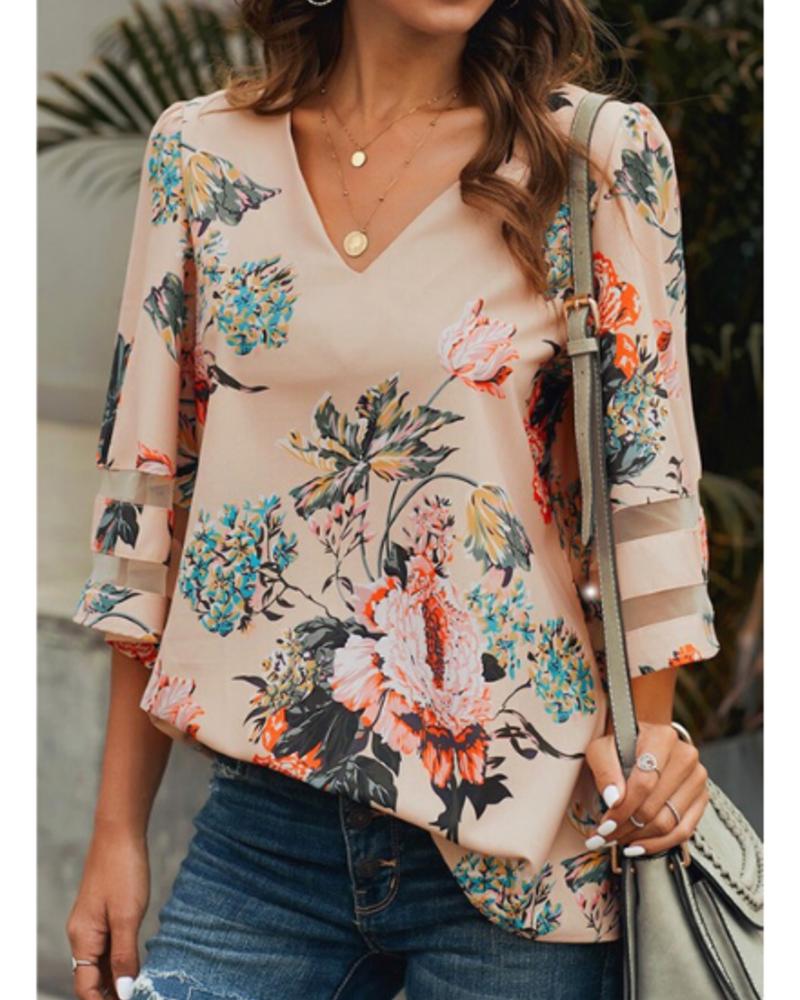 Lily Clothing Floral Print V Neck Chiffon Top