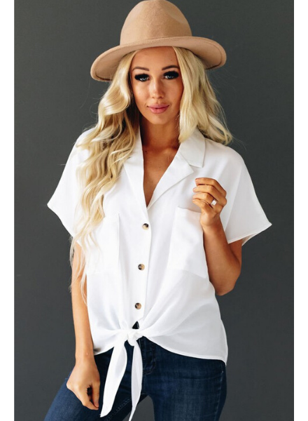 Shiying Fashion Short Sleeve Button Down & Tie Front w/Collar