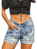 Shiying Fashion Light Wash Distressed Shorts w/Cuffed Hem