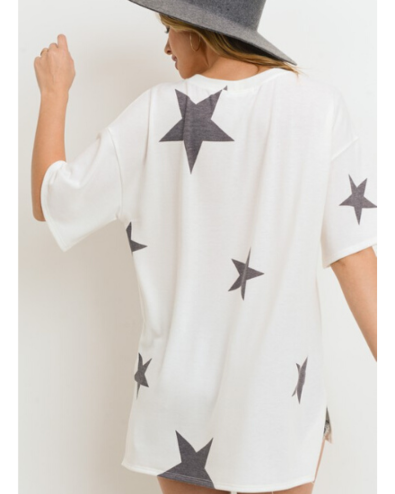 First Love Star Print Top w/Round Neckline