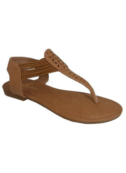 Iynx Tan laser cut thong sandal