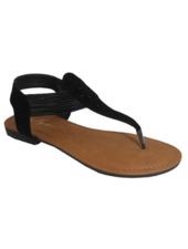 Iynx Black laser cut thong sandal