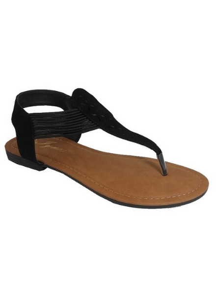 Iynx Black laser cut thong sandal