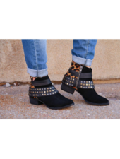 Naughty Monkey CRIMSON- black & leopard studded buckle booties