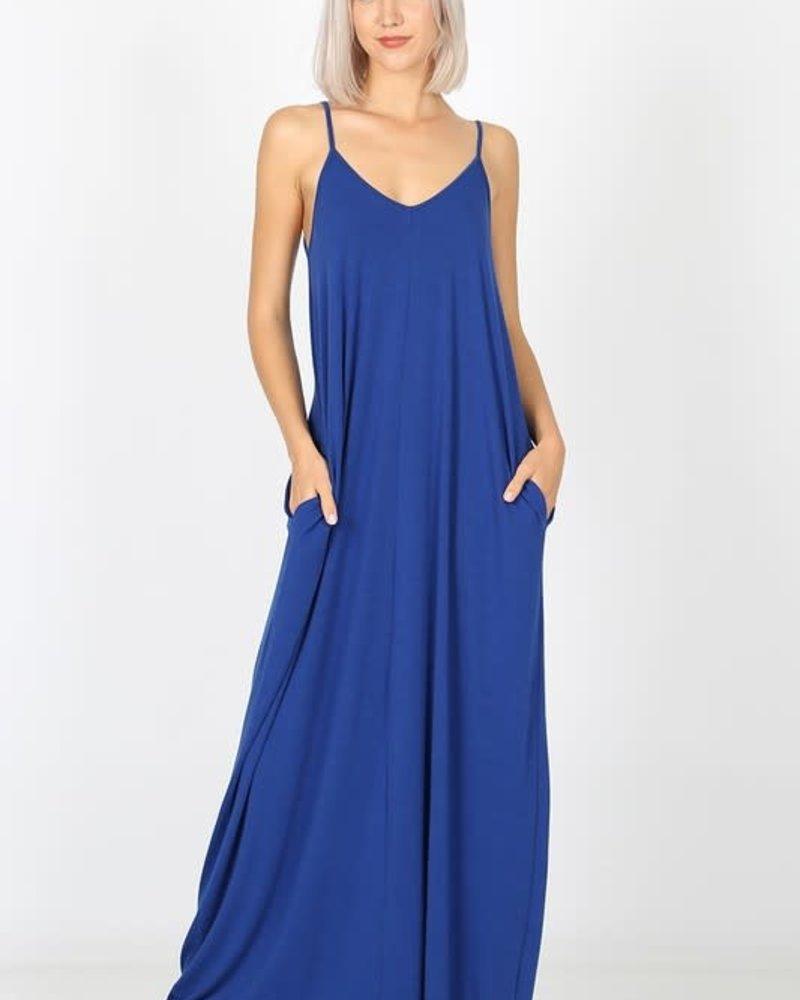 Zenana Premier V- Neck Cami Dress w/Pockets