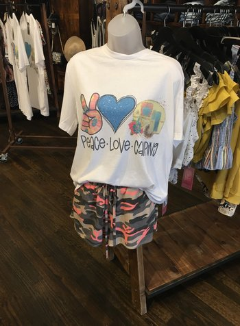 Canvas Peace Love Camping Graphic Tee