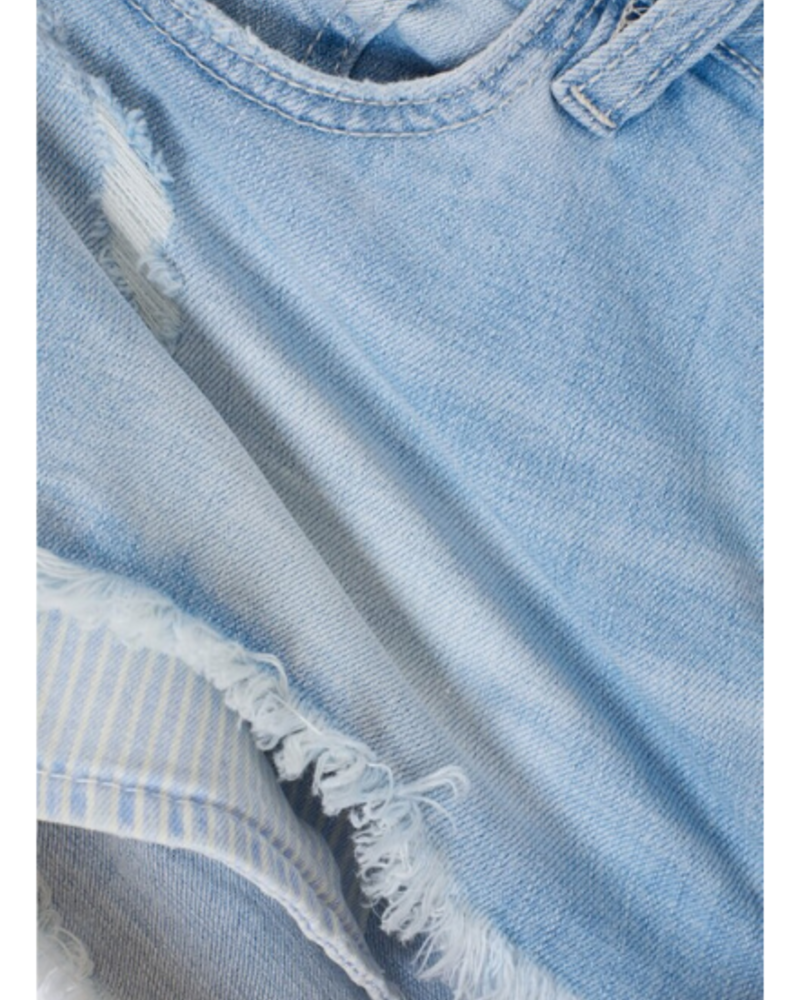 KanCan Mid Rise Shorts w/Striped Pockets