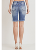 Tricot High-Rise Distressed Bermuda Shorts w/Button Fly