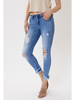 KanCan Mid Rise Ankle Hem Detail Destroyed Skinny Jeans