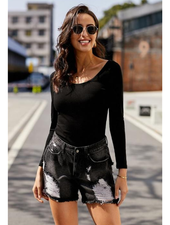 Lily Clothing High Rise Frayed Hem Distressed Shorts