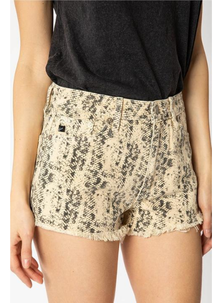 KanCan High Rise Snake Print Shorts w/Fray Hem