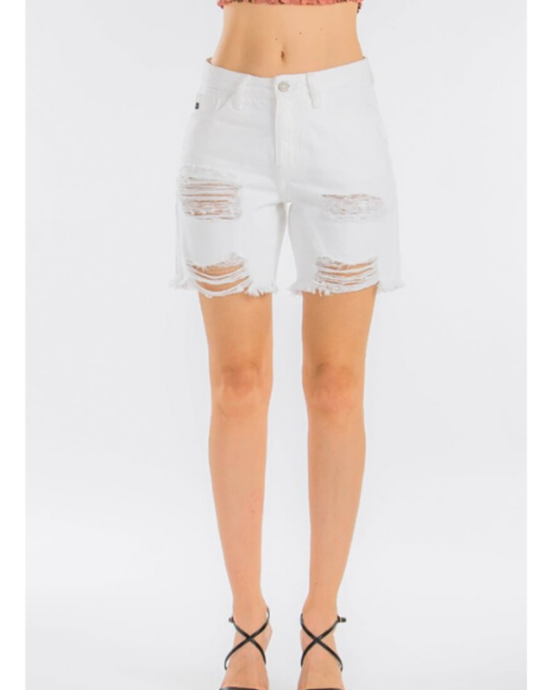 KanCan Karly High Rise Distressed Bermuda Shorts