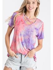 Heimish USA Tie Dye Short Sleeve Top w/Criss Cross Neck