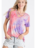 Heimish USA Tie Dye Short Sleeve Top w/Criss Cross Neck