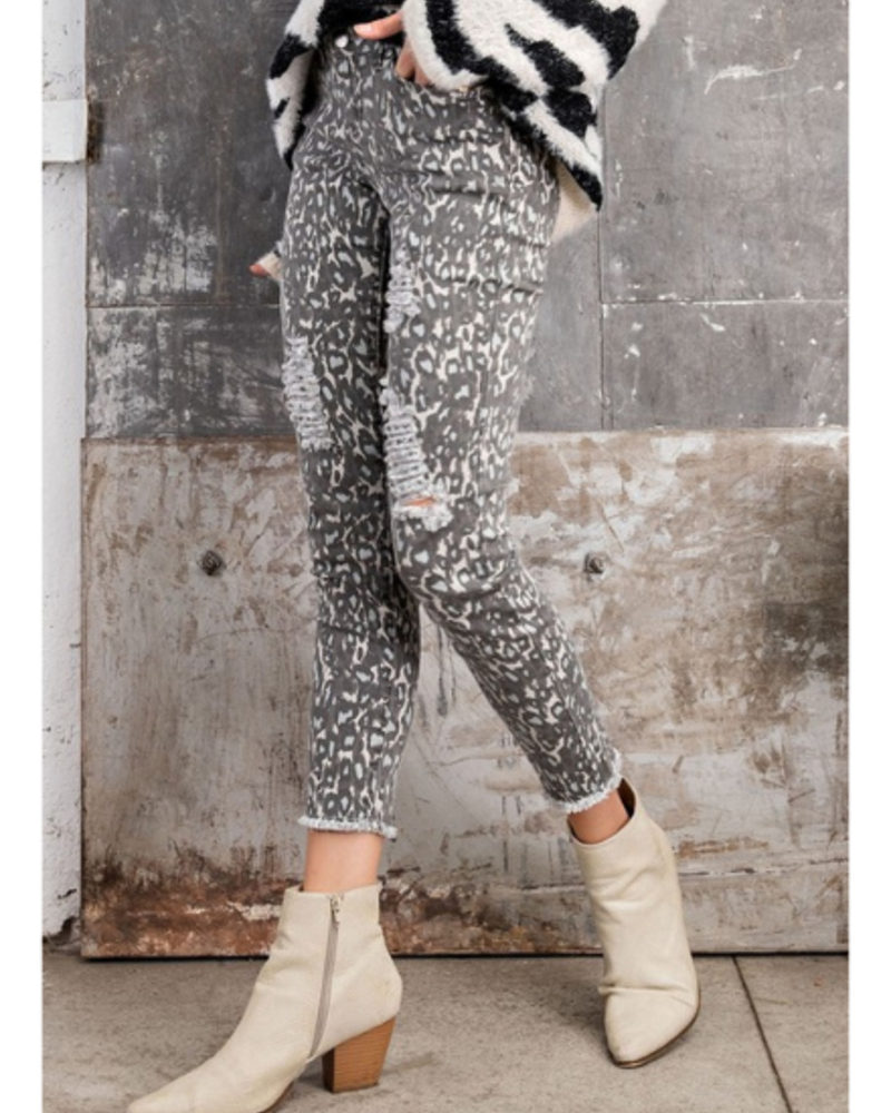 Easel Leopard Distressed Skinny Pants