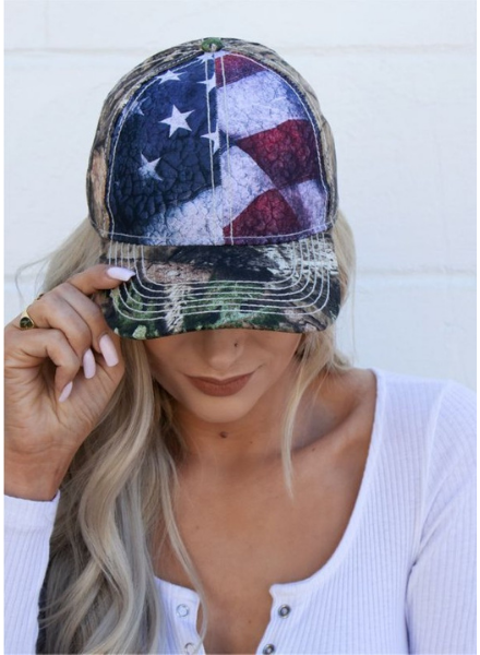 Camo Patriotic Flag Trucker Hat