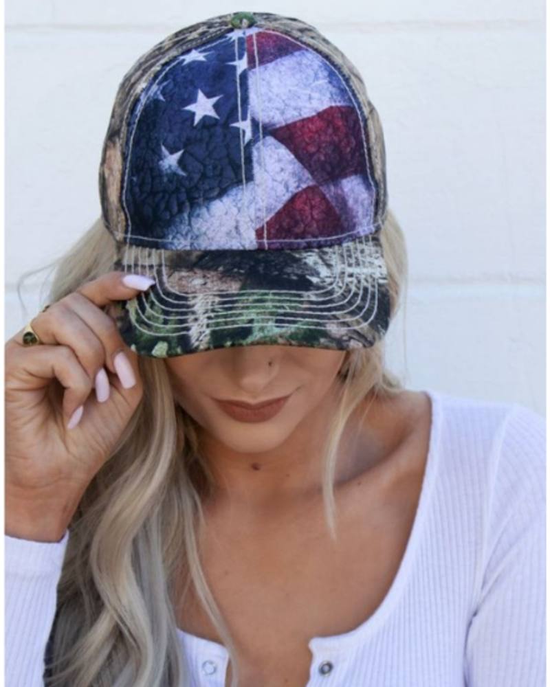 Camo Patriotic Flag Trucker Hat