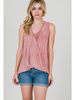 CY Fashion Front Lace Up Surplice Tank